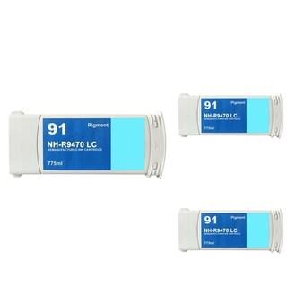 INSTEN HP 91 Cyan Ink Cartridge (Remanufactured) (Pack of 3)