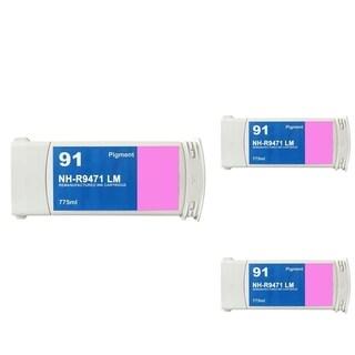 INSTEN HP 91 Magenta Ink Cartridge (Remanufactured) (Pack of 3)