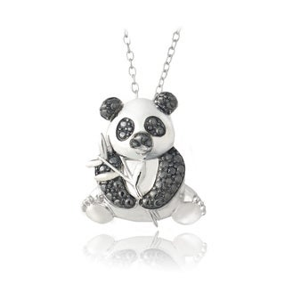 DB Designs Sterling Silver Black Diamond-accent Panda Bear Necklace