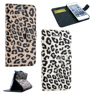 Gearonic Leopard Wallet Magnetic Leather Case with Stand for Apple 5C