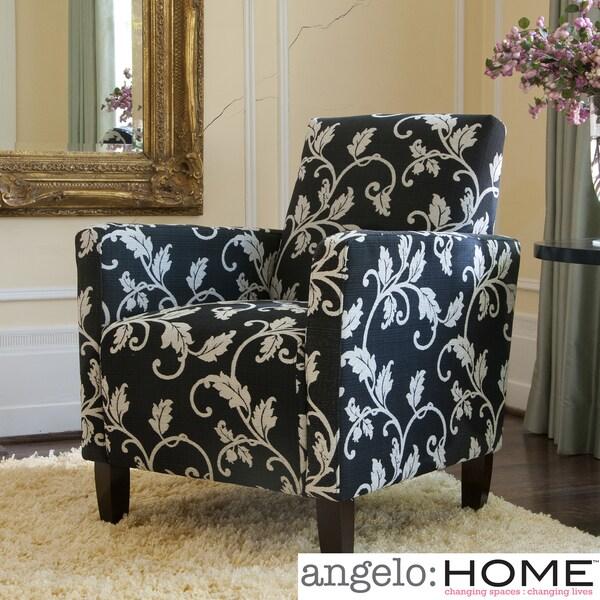 angelo:Home Sutton Black/ White Vine Arm Chair