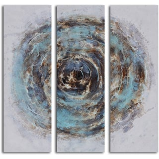 'Marble blue chasm' 3-piece Hand Painted Canvas Art