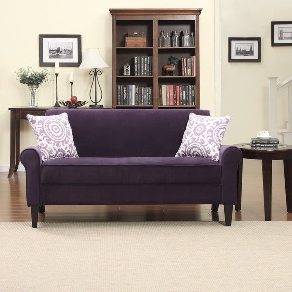 Portfolio Harper Purple Velvet Rounded Arm Sofa