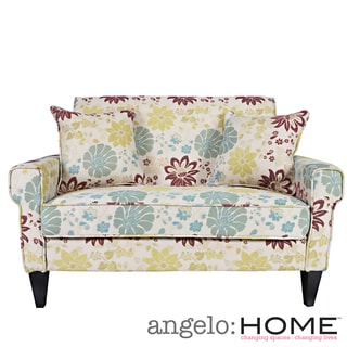 angelo:HOME Ennis Spring Sandstone Beige and Blue Floral Loveseat