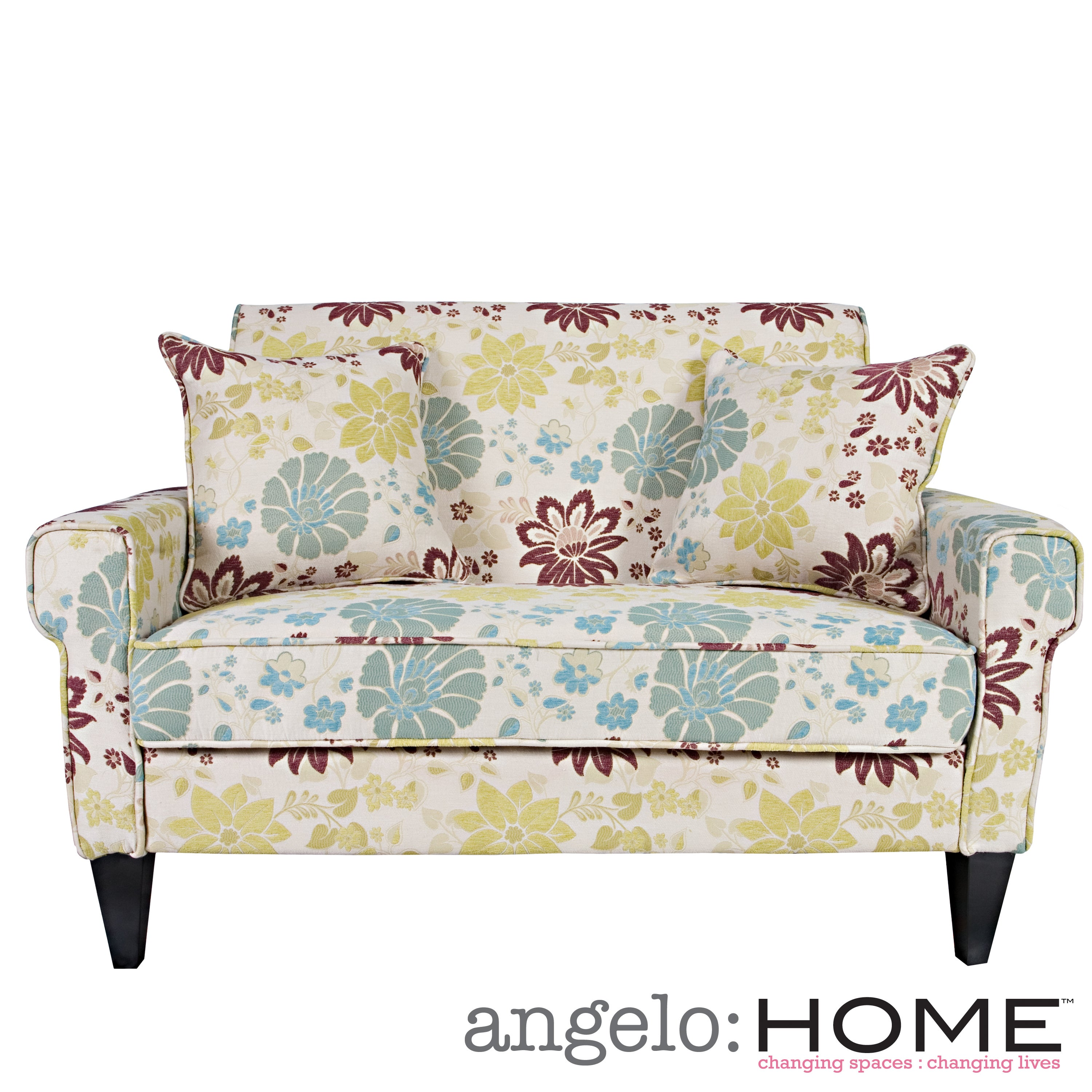 Angelo Home Ennis Spring Sandstone Beige And Blue Floral Loveseat Overstock Shopping Great