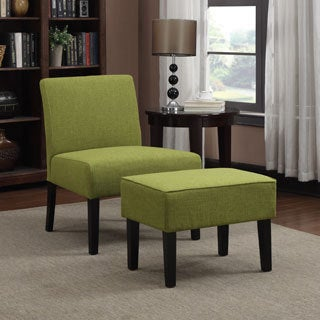 Portfolio Niles Green Linen Armless Chair and Ottoman Set
