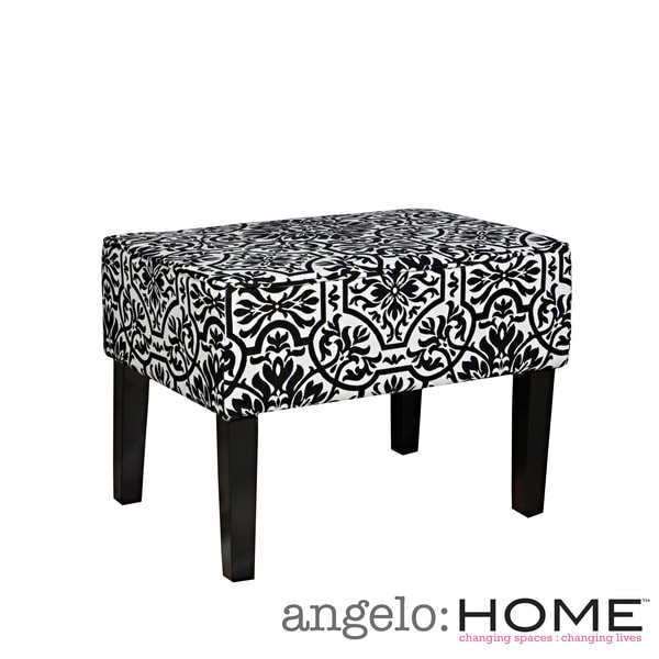 angelo: HOME Brighton Hill Damask Black and White Small Bench
