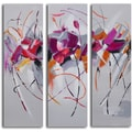 'Fuschia frolicking flower triptych' 3-piece Hand Painted Canvas Art