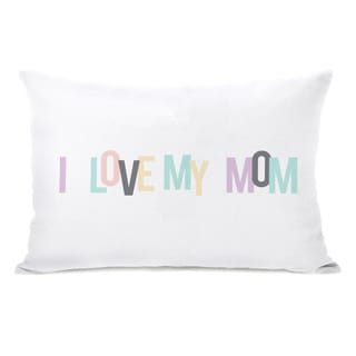 I love My Mom Hearts Throw Pillow