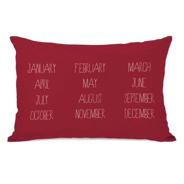 Months Red Throw Pillow