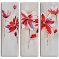 'Daliance of red florals' 3-piece Hand Painted Canvas Art