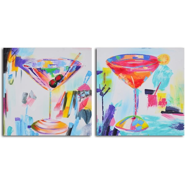 'Confetti cocktails' 2-piece Hand Painted Canvas Art