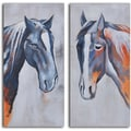 'Colt and mare' 2-piece Hand Painted Canvas Art