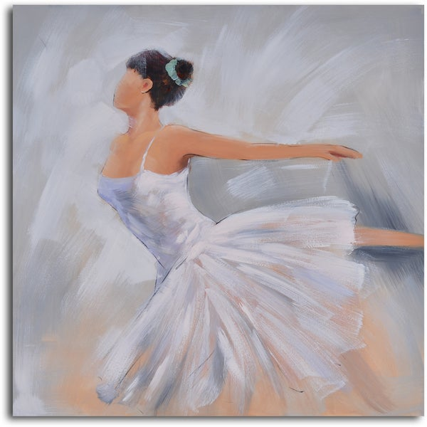 'Ballerina in white' Hand Painted Canvas Art
