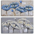 'Blue white poppy quartet' 2-piece Hand Painted Canvas Art