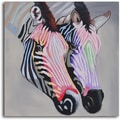 'Pastel zebra duo' Hand Painted Canvas Art