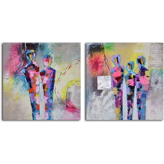 'Kaleidoscope figurines' 2-piece Hand Painted Canvas Art