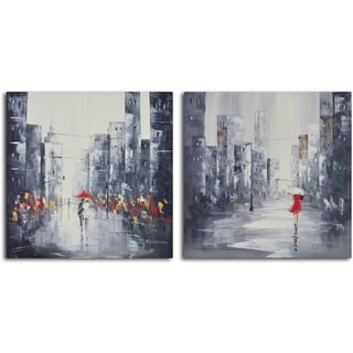 'City puddles scape' 2-piece Hand Painted Canvas Art