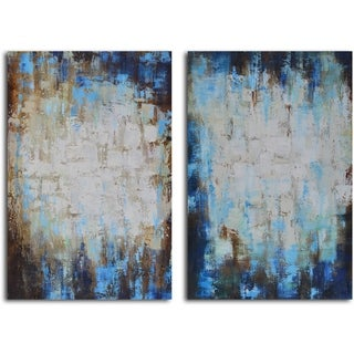 'Through blues to light' 2-piece Hand Painted Canvas Art