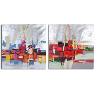 'Reflections by wharf abstract' 2-piece Hand Painted Canvas Art