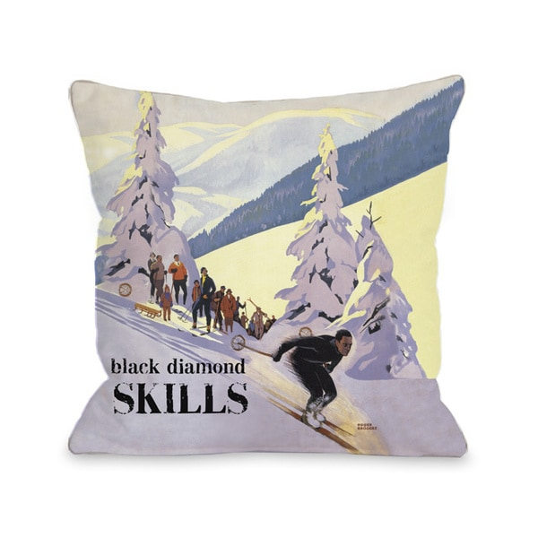 Black Diamond Skills Vintage Ski Throw Pillow