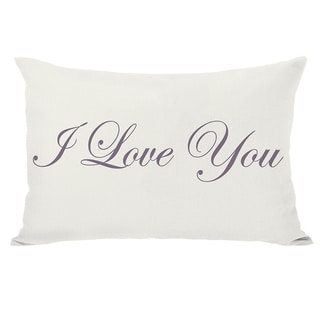 Je Taime I Love You Reversible Ivory and Grape Throw Pillow