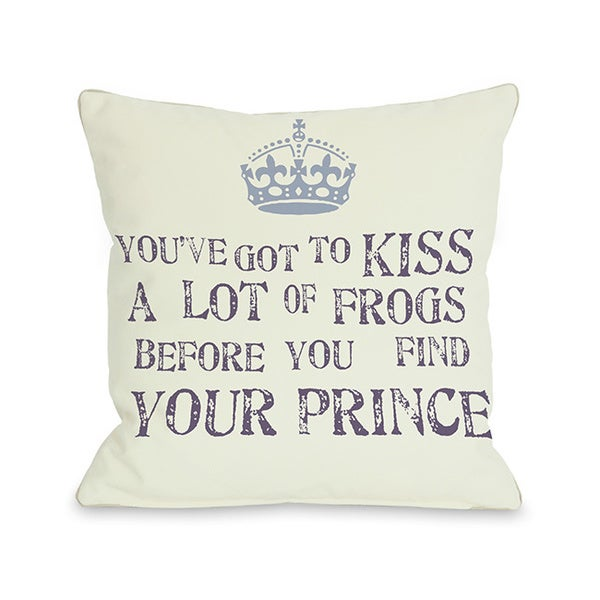 Kiss A Lot of Frogs Throw Pillow