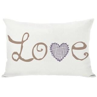 Love Crosshatch Heart Ivory Throw Pillow