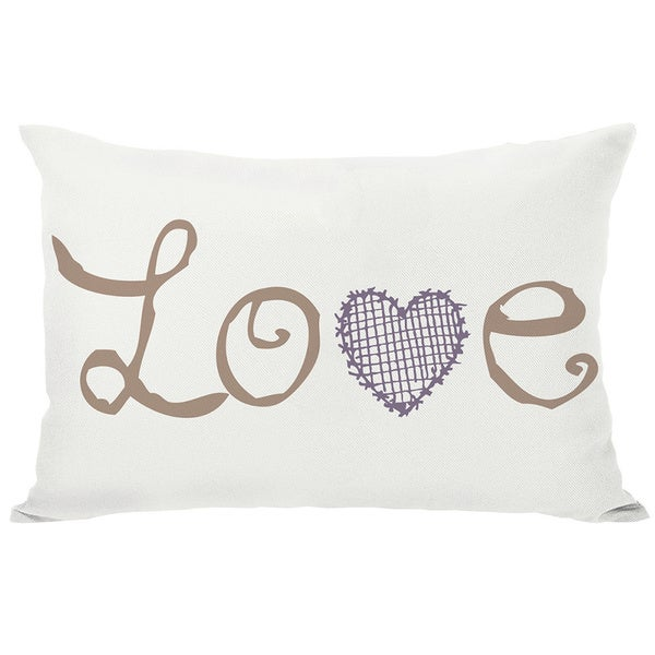 Love Crosshatch Heart Ivory Throw Pillow