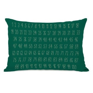 Numbers Green Throw Pillow