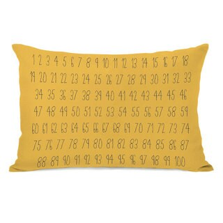 Numbers Yellow Throw Pillow