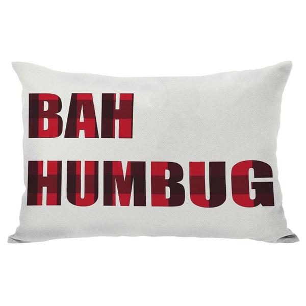 Plaid Bah Humbug Reversible Throw Pillow