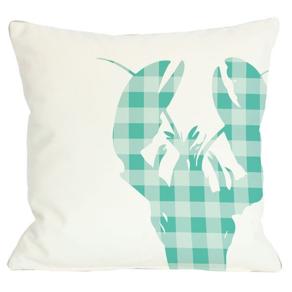 Plaid Lobster Throw Pillow