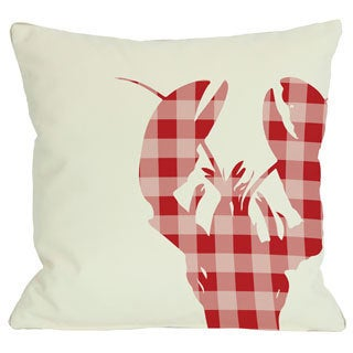 Plaid Lobster Red Throw Pillow