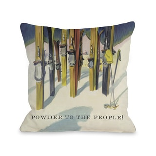 Powder to the People Vintage Ski Throw Pillow
