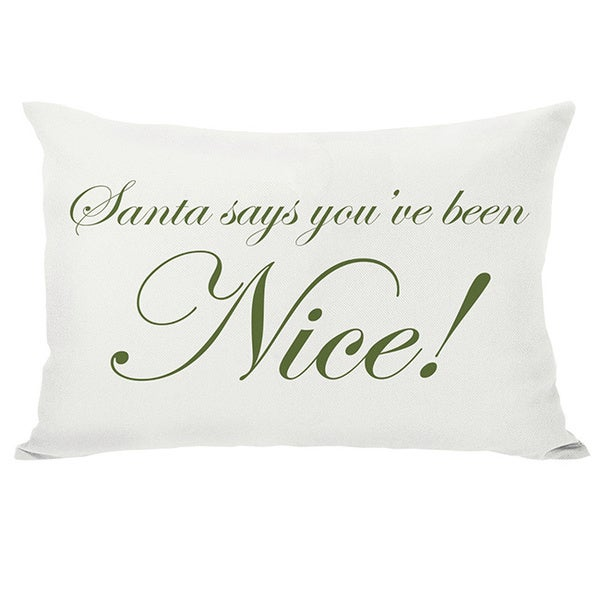 Santa Says Naughty or Nice Reversible Throw Pillow