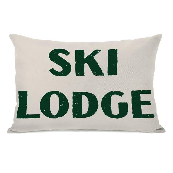 Ski Lodge Throw Pillow