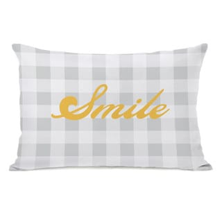 Smile Gingham Throw Pillow