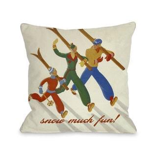 Snow Much Fun Vintage Ski Throw Pillow
