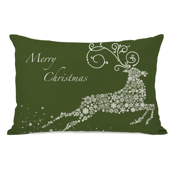 Snowflake Reindeer - Green Throw Pillow