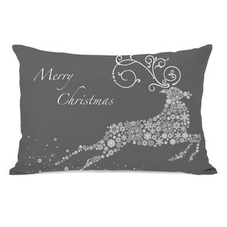 Snowflake Reindeer - Grey Throw Pillow