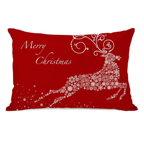 Snowflake Reindeer - Red Throw Pillow