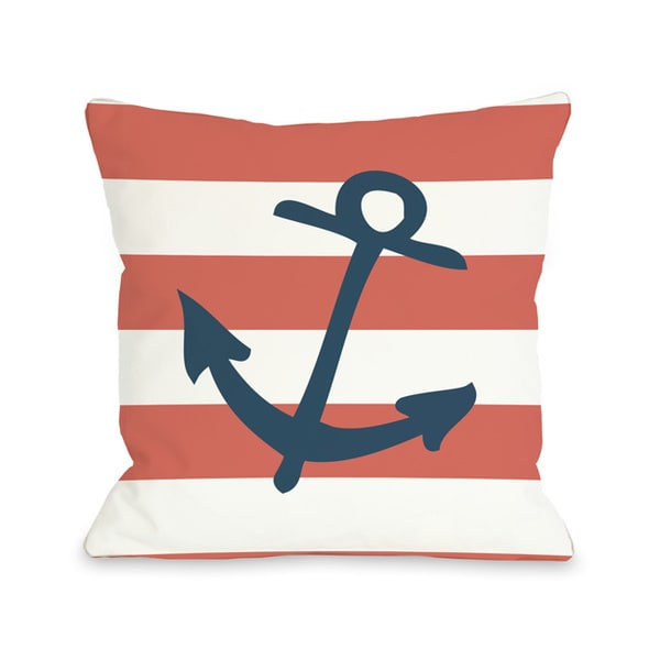 Striped Anchor - Coral Throw Pillow