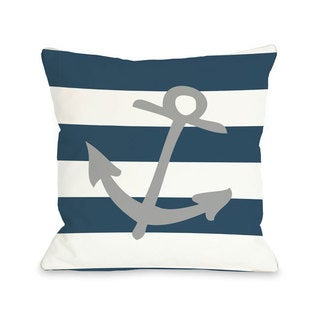 Striped Anchor - Gray Throw Pillow
