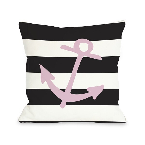 Striped Anchor - Pink Throw Pillow
