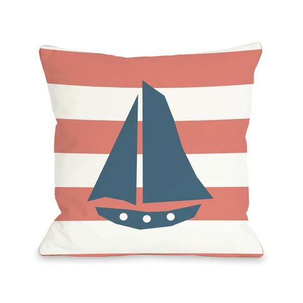 Striped Sailboat - Coral Throw Pillow