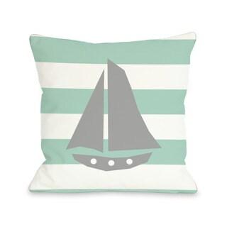 Striped Sailboat - Gray Throw Pillow