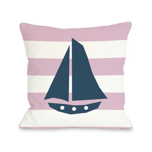 Striped Sailboat - Pink Throw Pillow
