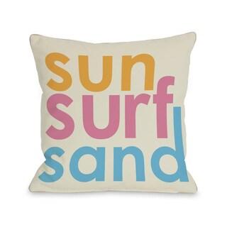 Sun Surf Sand Throw Pillow
