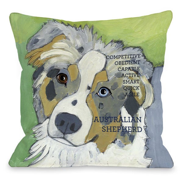 Australian Sheep Dog Design Throw Pillow